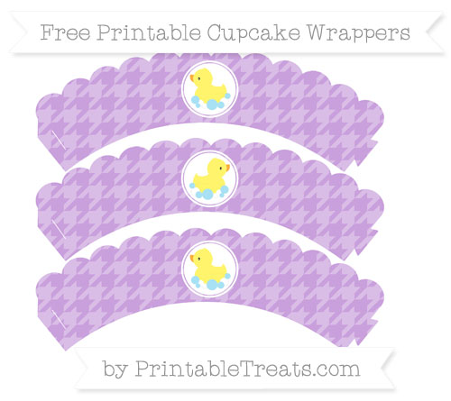 Free Wisteria Houndstooth Pattern Baby Duck Scalloped Cupcake Wrappers