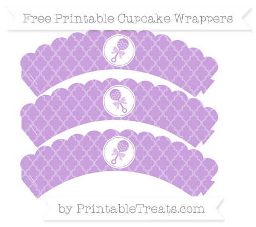 Free Wisteria Moroccan Tile Baby Rattle Scalloped Cupcake Wrappers
