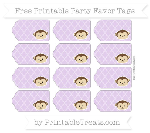 Free Wisteria Moroccan Tile Boy Monkey Party Favor Tags