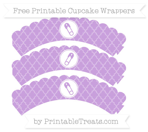 Free Wisteria Moroccan Tile Diaper Pin Scalloped Cupcake Wrappers
