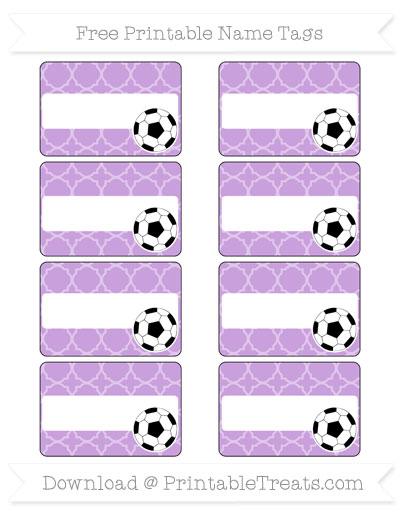 Free Wisteria Quatrefoil Pattern Soccer Name Tags