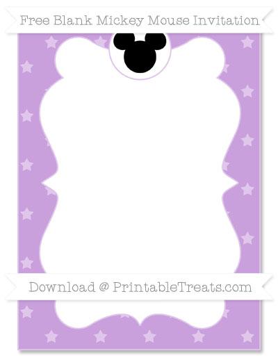 Free Wisteria Star Pattern Blank Mickey Mouse Invitation