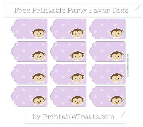 Free Wisteria Star Pattern Boy Monkey Party Favor Tags