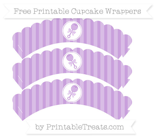 Free Wisteria Striped Baby Rattle Scalloped Cupcake Wrappers