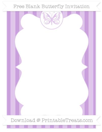 Free Wisteria Striped Blank Butterfly Invitation