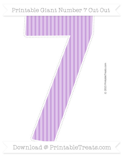 Free Wisteria Thin Striped Pattern Giant Number 7 Cut Out