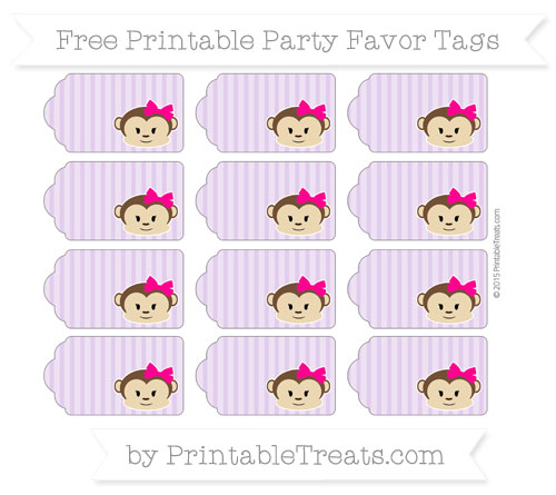Free Wisteria Thin Striped Pattern Girl Monkey Party Favor Tags