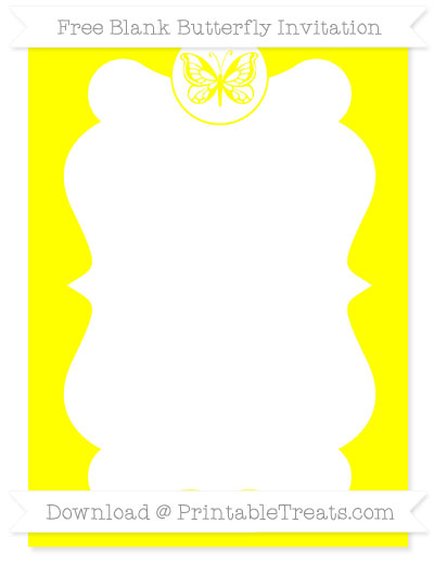 Free Yellow Blank Butterfly Invitation