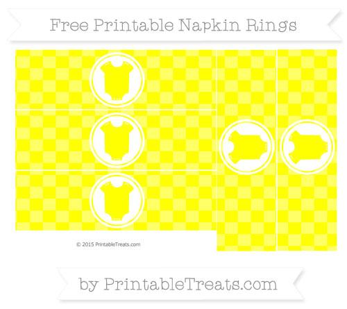 Free Yellow Checker Pattern Baby Onesie Napkin Rings