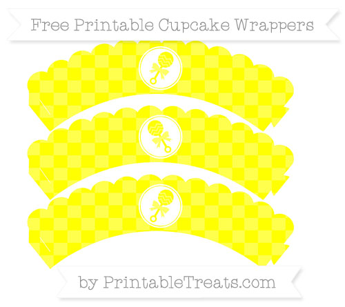 Free Yellow Checker Pattern Baby Rattle Scalloped Cupcake Wrappers