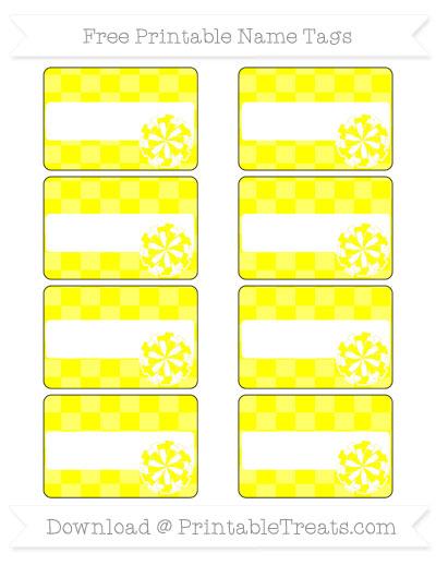 Free Yellow Checker Pattern Cheer Pom Pom Tags