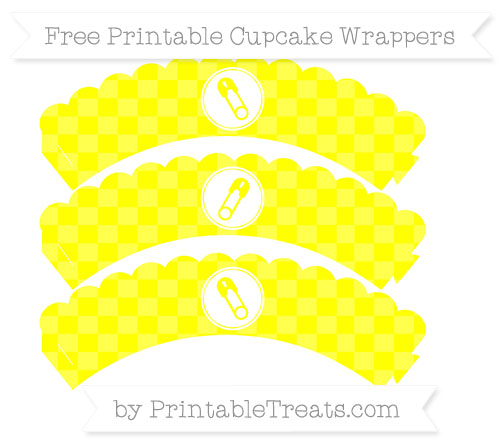 Free Yellow Checker Pattern Diaper Pin Scalloped Cupcake Wrappers