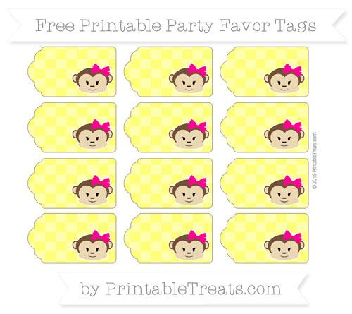 Free Yellow Checker Pattern Girl Monkey Party Favor Tags