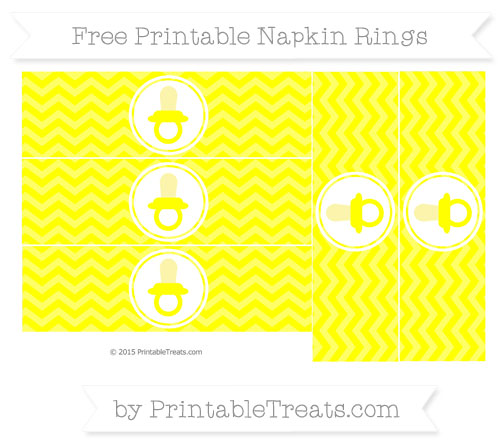 Free Yellow Chevron Baby Pacifier Napkin Rings