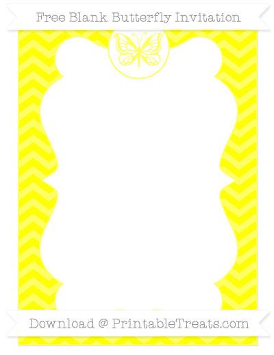 Free Yellow Chevron Blank Butterfly Invitation