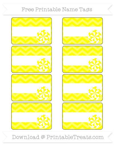 Free Yellow Chevron Cheer Pom Pom Tags