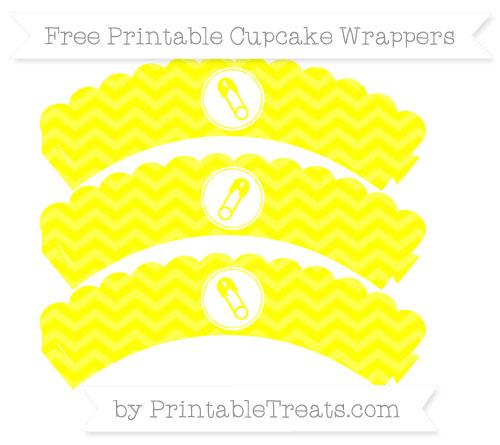 Free Yellow Chevron Diaper Pin Scalloped Cupcake Wrappers