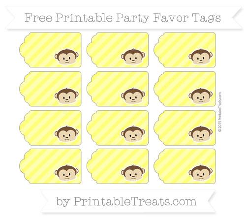 Free Yellow Diagonal Striped Boy Monkey Party Favor Tags