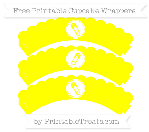 Free Yellow Diaper Pin Scalloped Cupcake Wrappers