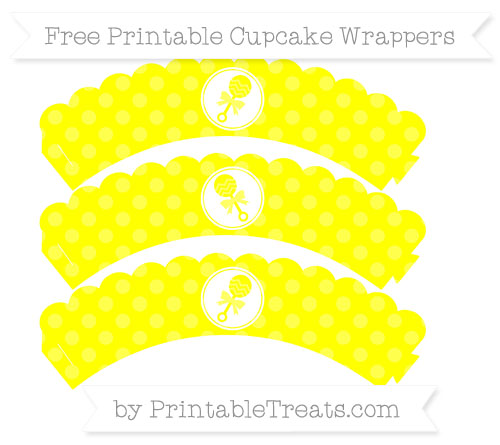 Free Yellow Dotted Pattern Baby Rattle Scalloped Cupcake Wrappers