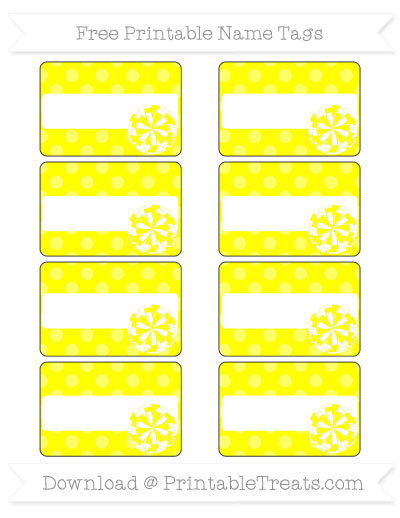 Free Yellow Dotted Pattern Cheer Pom Pom Tags