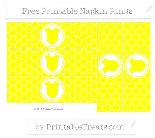 Free Yellow Fish Scale Pattern Baby Onesie Napkin Rings