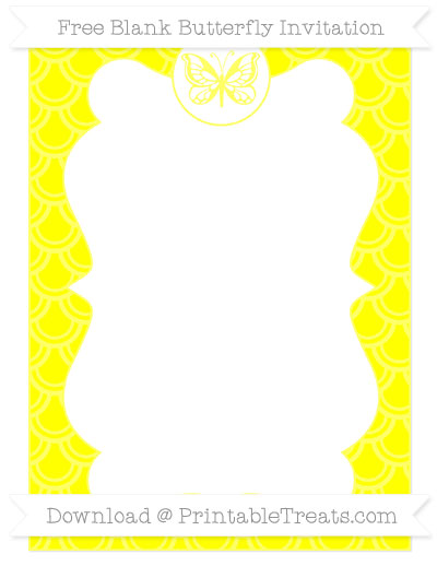 Free Yellow Fish Scale Pattern Blank Butterfly Invitation
