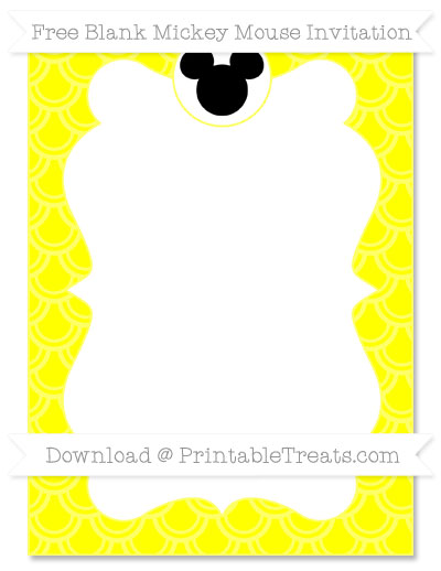 Free Yellow Fish Scale Pattern Blank Mickey Mouse Invitation