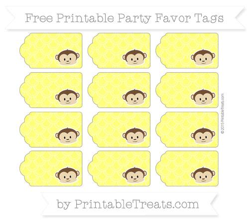 Free Yellow Fish Scale Pattern Boy Monkey Party Favor Tags