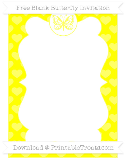 Free Yellow Heart Pattern Blank Butterfly Invitation