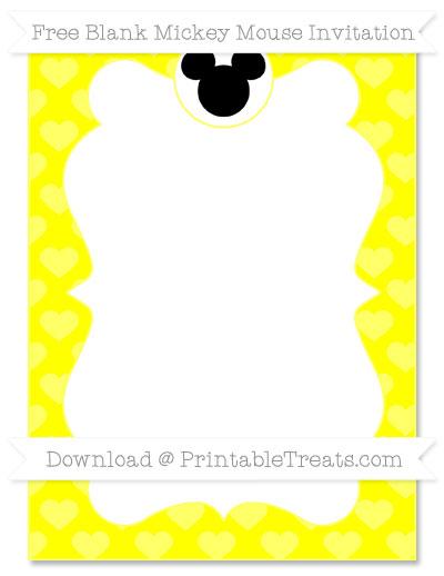 Free Yellow Heart Pattern Blank Mickey Mouse Invitation