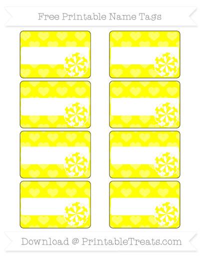 Free Yellow Heart Pattern Cheer Pom Pom Tags