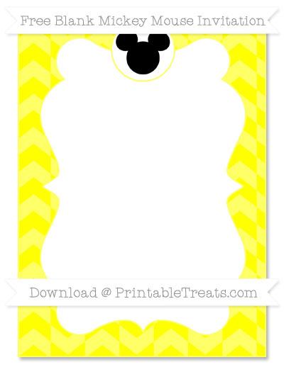 Free Yellow Herringbone Pattern Blank Mickey Mouse Invitation
