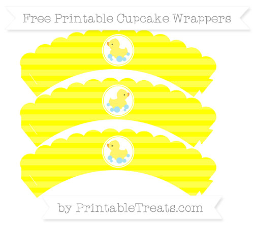 Free Yellow Horizontal Striped Baby Duck Scalloped Cupcake Wrappers