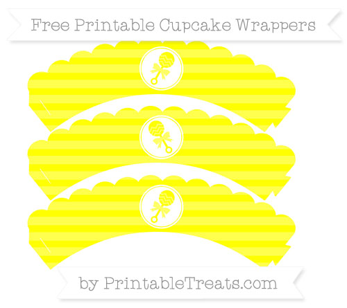 Free Yellow Horizontal Striped Baby Rattle Scalloped Cupcake Wrappers