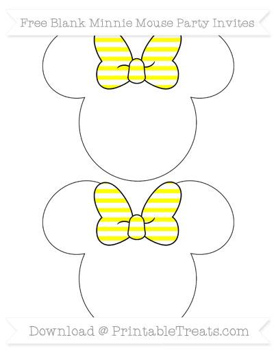 Free Yellow Horizontal Striped Blank Minnie Mouse Party Invites
