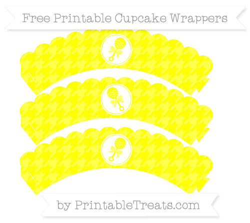 Free Yellow Houndstooth Pattern Baby Rattle Scalloped Cupcake Wrappers