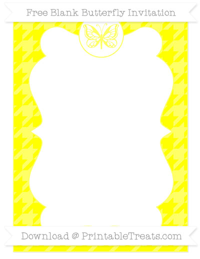Free Yellow Houndstooth Pattern Blank Butterfly Invitation