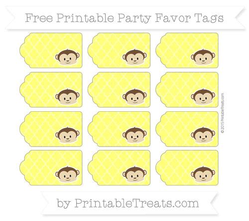 Free Yellow Moroccan Tile Boy Monkey Party Favor Tags