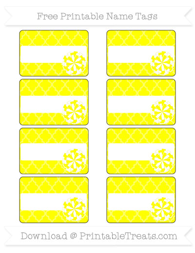 Free Yellow Moroccan Tile Cheer Pom Pom Tags