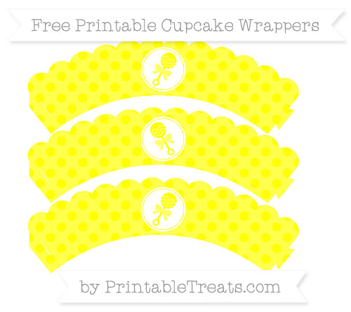 Free Yellow Polka Dot Baby Rattle Scalloped Cupcake Wrappers