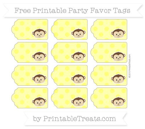 Free Yellow Polka Dot Boy Monkey Party Favor Tags