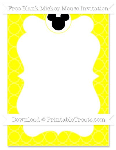 Free Yellow Quatrefoil Pattern Blank Mickey Mouse Invitation