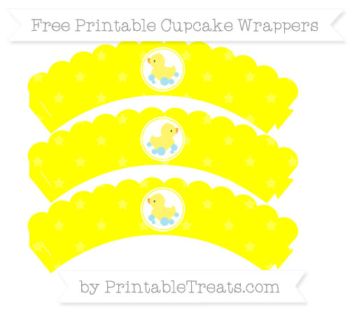 Free Yellow Star Pattern Baby Duck Scalloped Cupcake Wrappers