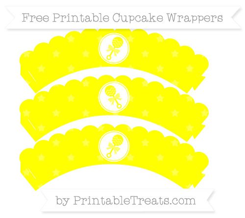 Free Yellow Star Pattern Baby Rattle Scalloped Cupcake Wrappers