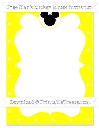 Free Yellow Star Pattern Blank Mickey Mouse Invitation