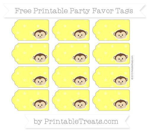 Free Yellow Star Pattern Boy Monkey Party Favor Tags