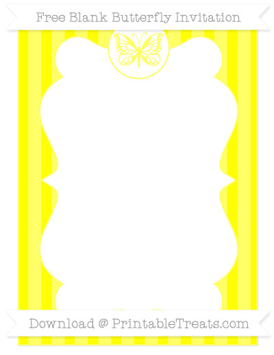 Free Yellow Striped Blank Butterfly Invitation