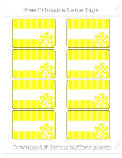Free Yellow Striped Cheer Pom Pom Tags