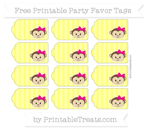 Free Yellow Striped Girl Monkey Party Favor Tags